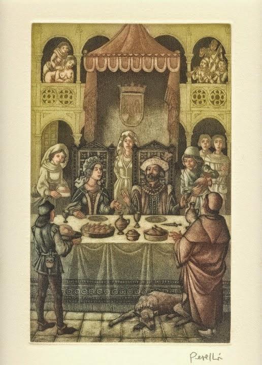 La marquesa de Monferrato - Grabado original de Celedonio Perellón