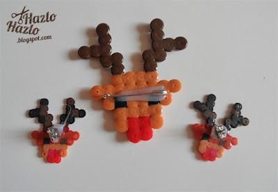 Hacer renos con hama beads.