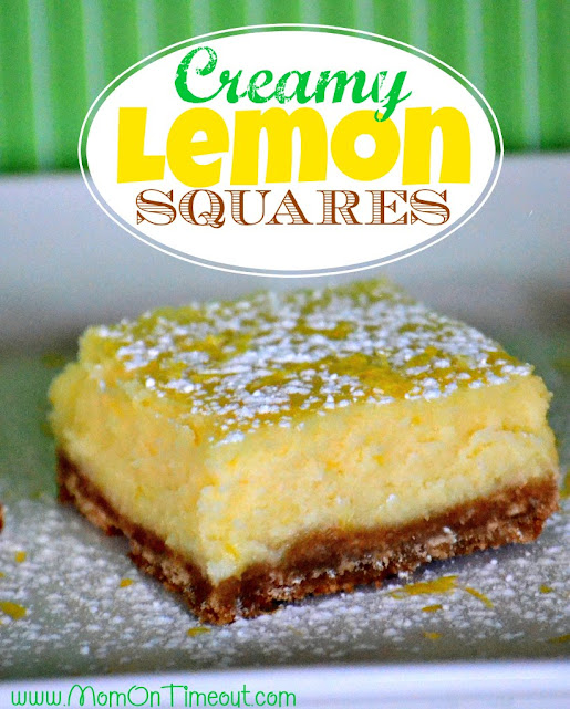These Creamy Lemon Squares taste just like a lemon cheesecake - so creamy and delicious!| MomOnTimeout.com | #dessert #lemon #recipe