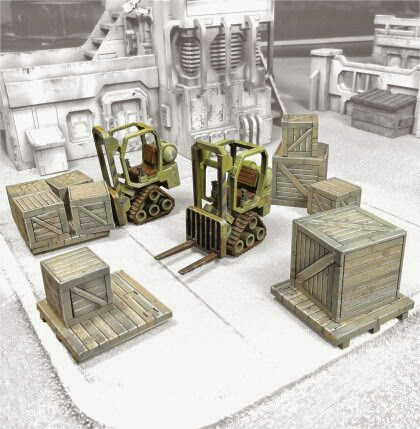 Mini forklifts with crates miniature Scenery