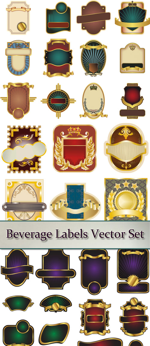 Stock: Beverage Labels Vector Set