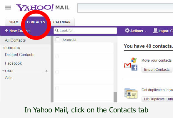 Yahoo contacts email addresses can be saved - pictorial by dorsetdog.com