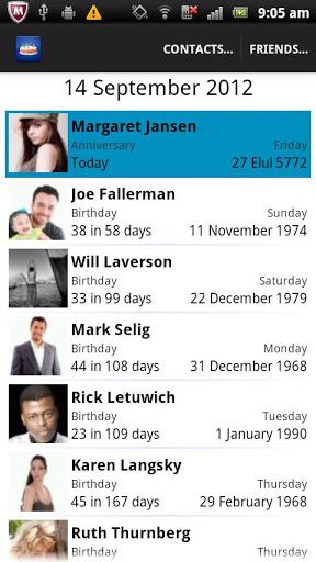 birthdays android app