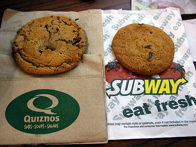 Chocolate chip cookies from Quiznos and Subway