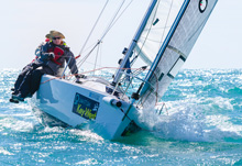 J80 one-design sailboat- sailing at Quantum Key West Race Week