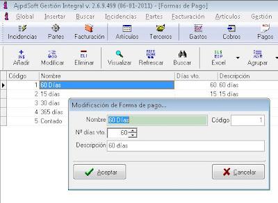 Formas de pago - AjpdSoft Gestión Integral