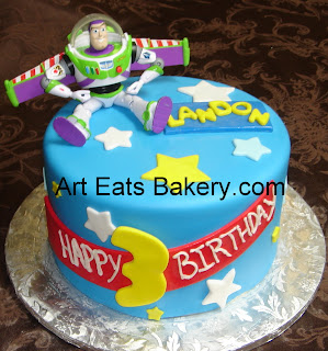 Buzz Lightyear custom fondant kid's birthday cake with toy Buzz