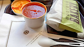 Bouchon Bakery San Marzano Tomato Soup, perfect with their pain au lait grilled fontina and gruyere cheese sandwich