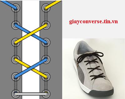 Cách buộc dây giày Converse kiểu thắt nơ