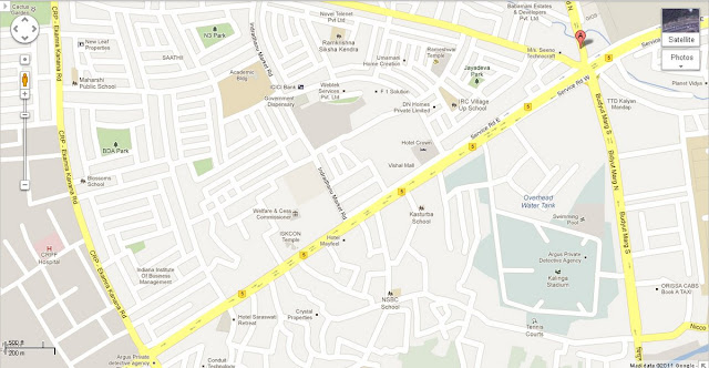 CRP - Ekram kanan Road - Service Road East - Bidyut Marg North Area Map Bhubaneswar
