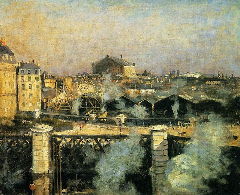 Norbert Goeneutte - The Pont de l'Europe and the Gare Saint-Lazare with Scaffolding