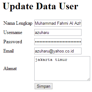 update database dengan codeigniter