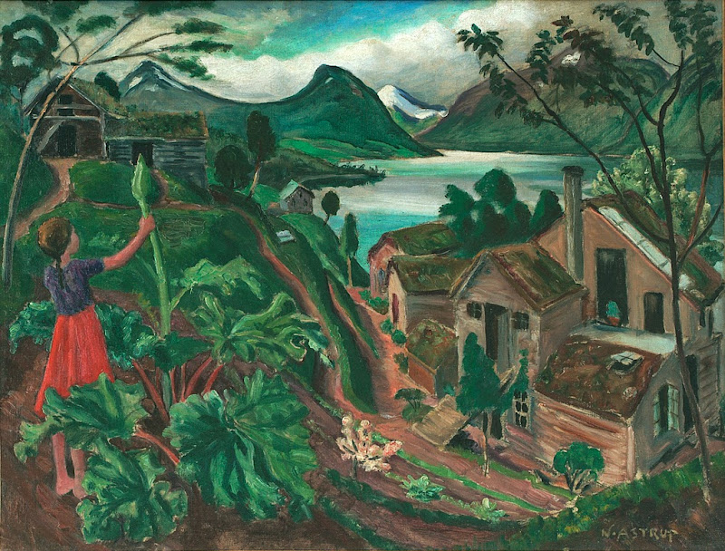Nikolai Astrup - Rhubarb and Little Girl at Sandalstrand, ca. 1927