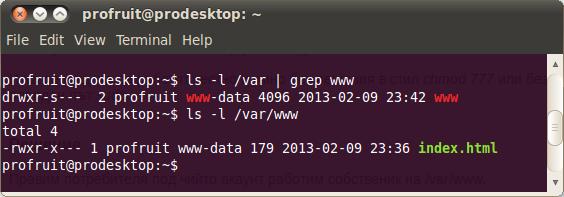 permissions of /var/www