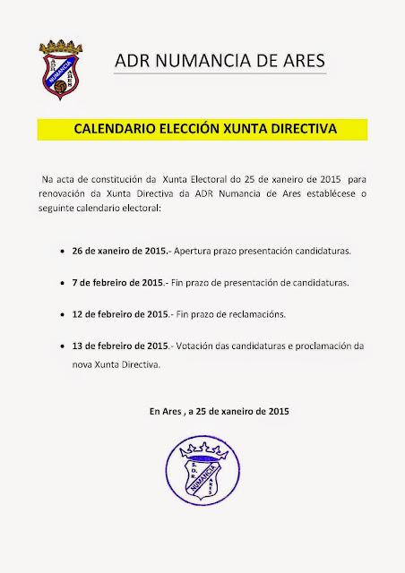 Calendario electoral a Xunta Directiva do Numancia de Ares.
