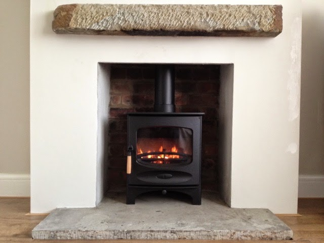 Charnwood C5 Wood Burning Stove Installation York Stone Hearth Mantle Yorkshire Before After