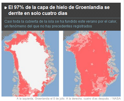 Groenlandia perdió el 97% del hielo en cuatro días  Groenlandia