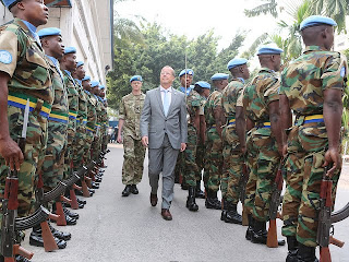 Prise de fonction, le 13 août 2013, de Martin Kobler, nouveau Représentant du Secrétaire général des Nations Unies en RDC, au Q.G. de la Monusco à Kinshasa. Photo MONUSCO/ Myriam Asmani