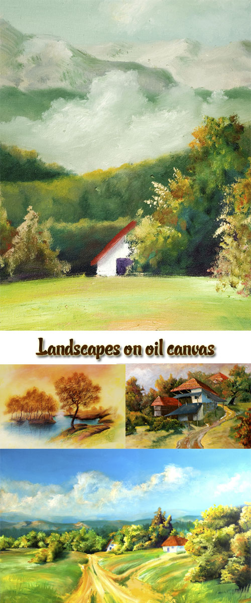 Stock Photo: Landscapes on oil canvas