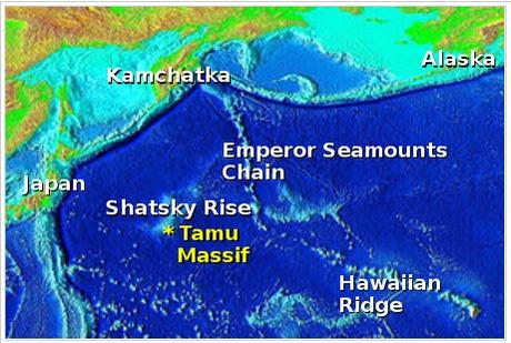peta letak gunung api tamu massif
