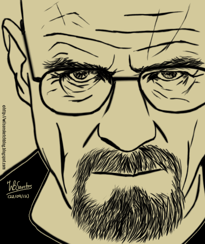 Sketch of Walter White from Breaking Bad.