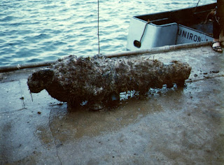 13 April 1968 - Recovery of the Cannon found at Apollo Bay Victoria - Dad's note on the back - the boat in the background the Uniron dissapeared in Bass Strait with out a trace after this picture was taken