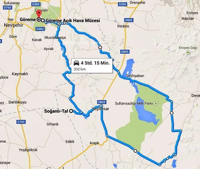Day 3 Route, Cappadocia