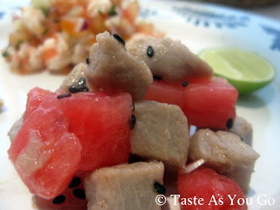 Bonito Ceviche with Watermelon at the Wyndham Cabo San Lucas in Cabo San Lucas, Mexico - Photo by Michelle Judd of Taste As You Go