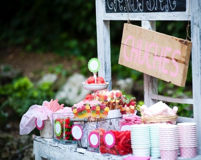 CAndy bar rosa para bautizo