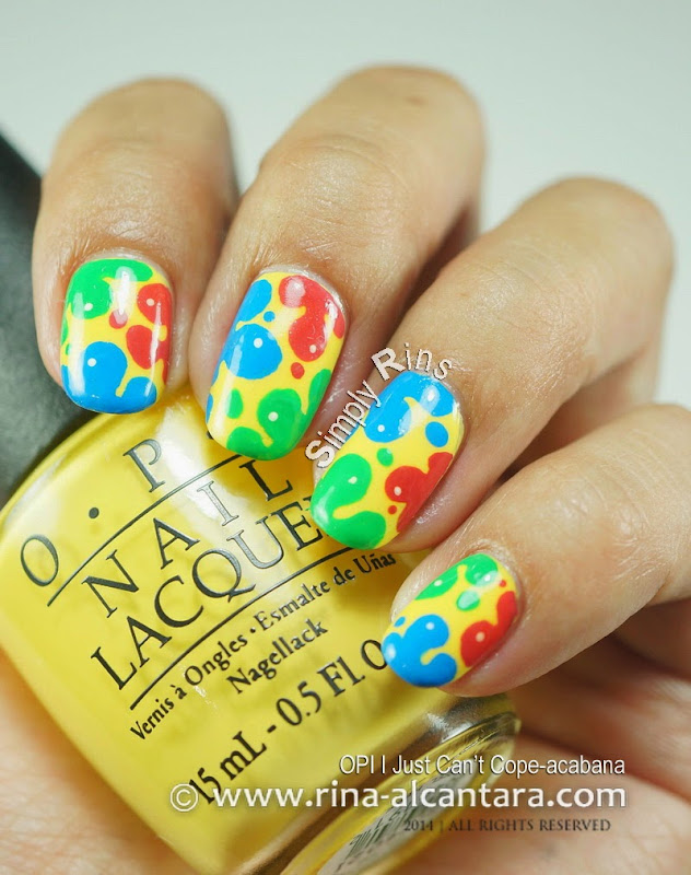 Splash of Colors Nail Art on OPI I Just Can't Cope-acabana