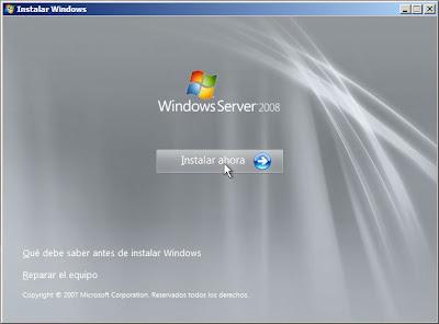 Reparar servidor Windows Server 2008 reinstalando sistema operativo