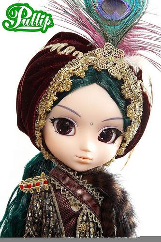 pullip saras: busto cara turbante pluma pavo real