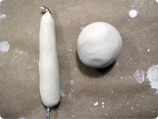 3. Roll another ball of clay for the mushroom cap.