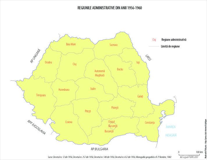 Harta administrativ-teritorială a României între 1956 - 1960