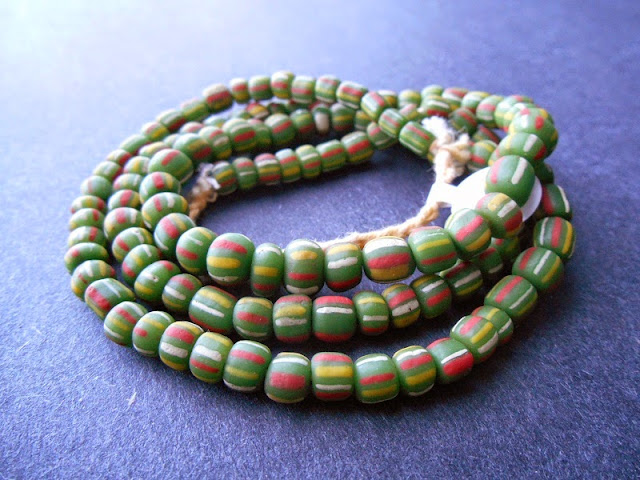 Green Striped Java Glass Beads