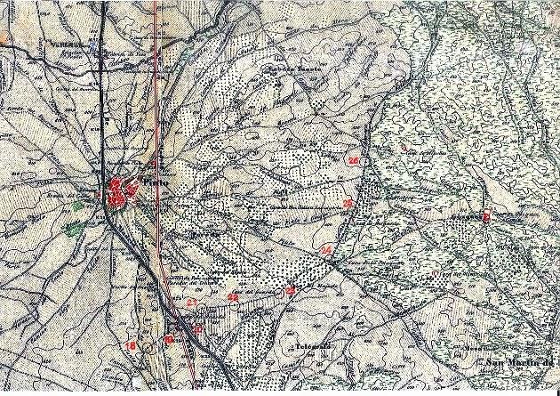 Mapa Topográfico Nacional 1877 - Ubicaciones de los mojones