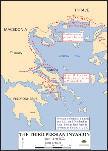 Map of the Persian invasion, crossing from Anatolia into Greece and the Balkans.