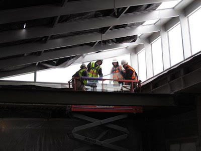 Atrium glass installation has begun