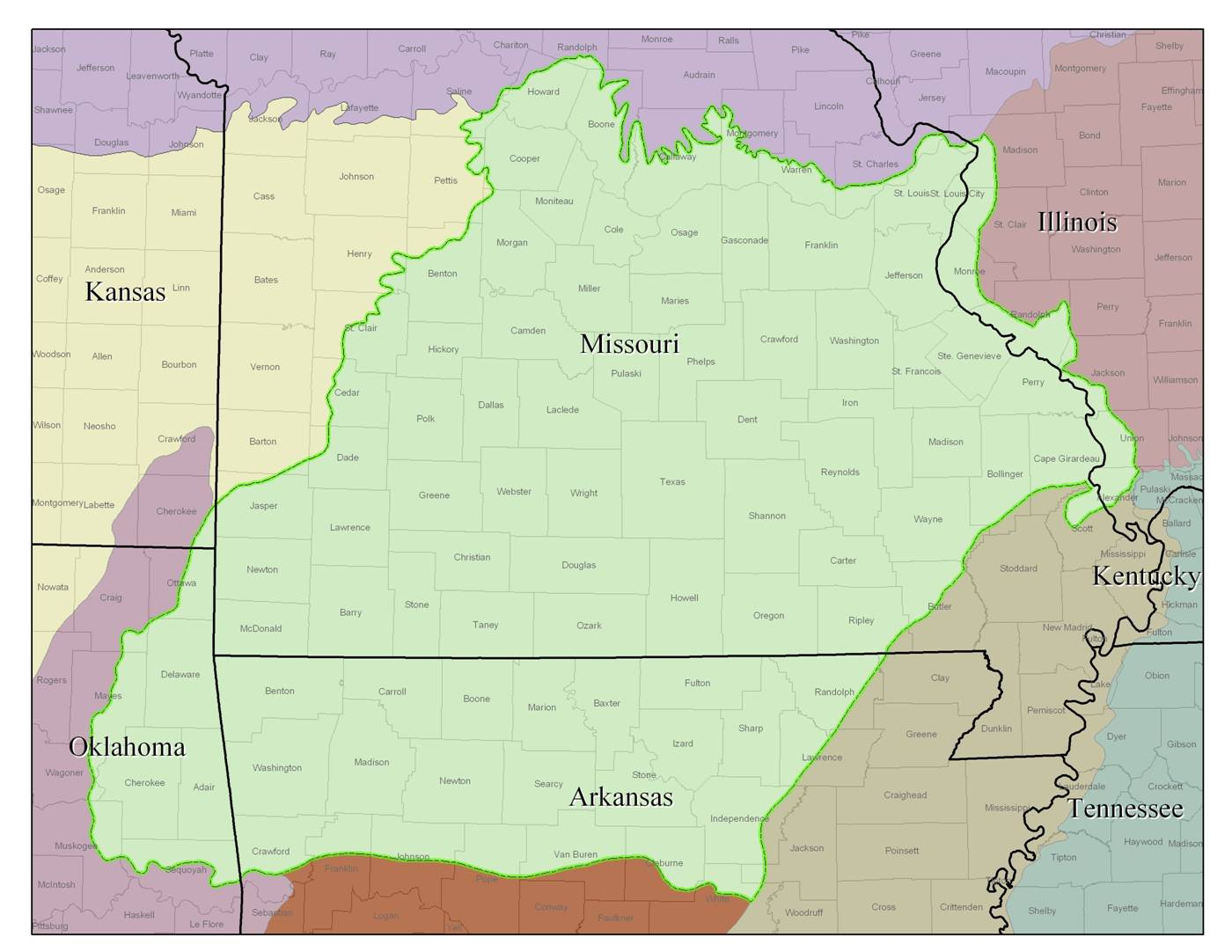 Gallery For Gt Ozark Mountains Map Of Region