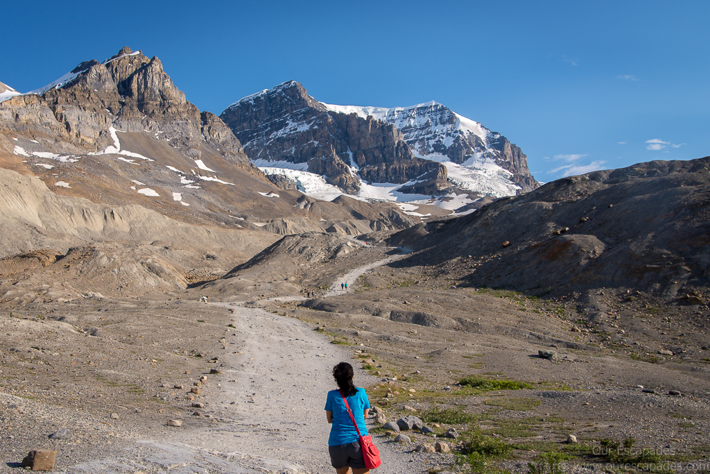 Walking to the toe of the Athabasca Glaciers