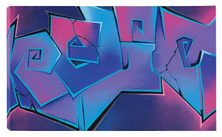 "Relic Hot Pink and Purple Spray paint  and acrylic on canvas 36"" x 60"" 2010 $1,800"