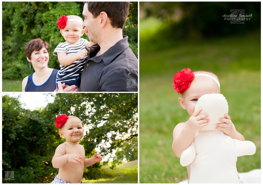 Girl with red flower headband - one year old photos