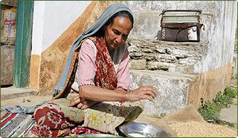 Villager listening to Kumaon Vani