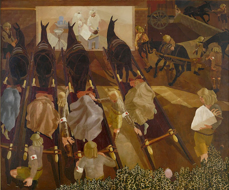 Stanley Spencer - Travoys arriving with wounded at a dressing station at SMOL, Macedonia, 1916