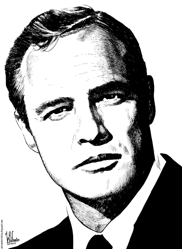 Ink drawing of Marlon Brando, using Krita 2.5.