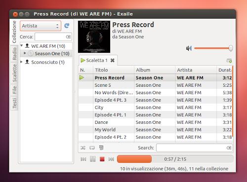 Exaile 3.3.0 su Ubuntu 12.04