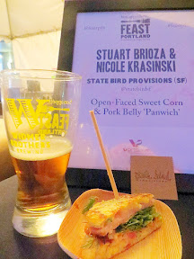 Feast Portland 2013 Day 1 Recap Stuart Biroza and Nicole Krasinski of State Bird Provisions (SF) open-Faced Sweet Corn and Pork Belly 'Panwich' for Widmer Sandwich Invitational at Feast PDX 2013