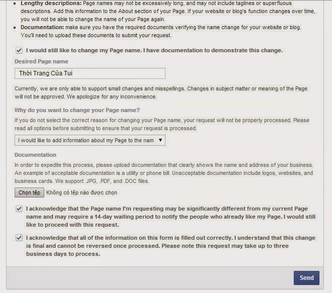 Gửi yêu cầu xác nhận việc đổi tên fanpage