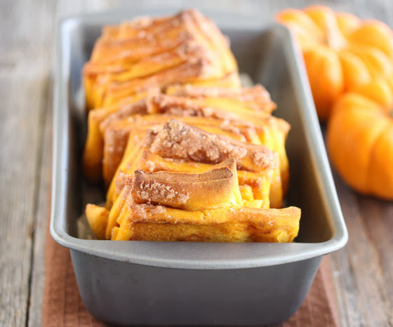 photo of pumpkin Pumpkin Pull Apart Bread in a loaf pan