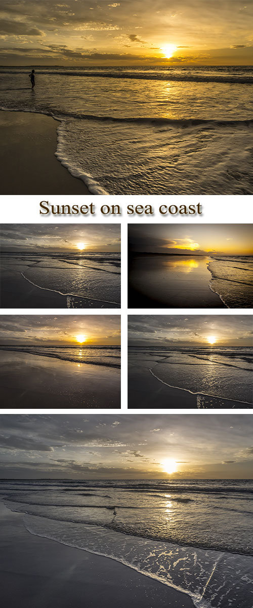 Stock Photo: Sunset on sea coast